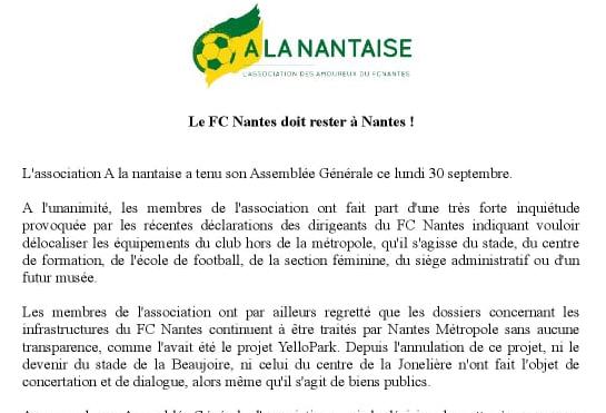 <br>Le FC Nantes doit rester à Nantes !</br>Communiqué de l'association